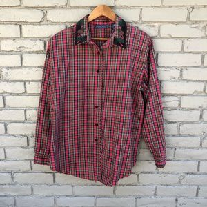 X-Mas Plaid Holly/Pine Cone Embroidered Blouse L